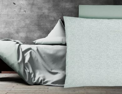 """Love Me More"" percal bedding CF by Christian Fischbacher, Iceland Moss"