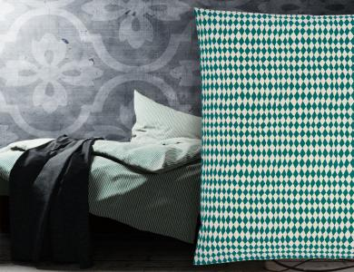"""Harlequin"" percal bedding CF by Christian Fischbacher, Forest Green"