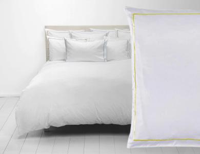 Christian Fischbacher Satin Duvet Cover Set Premium white with light yellow frame