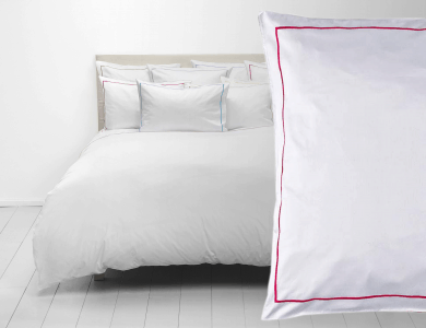Christian Fischbacher Satin Duvet Cover Set Premium white with pink frame