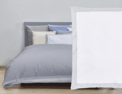 "Christian Fischbacher Fil a Fil ""Nordstrand"" bed linen, white - blue"