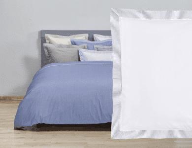 "Christian Fischbacher Fil a Fil ""Südstrand"" bed linen, white - blue"