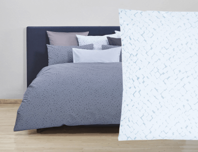 Christian Fischbacher Jacquard Duvet Cover Set Quadro light blue