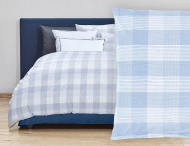 "Christian Fischbacher Bed Linen ""Quadrato"" Renforcé blue"