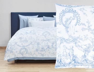 Fischbacher Bettwäsche Liaison white-blue Satin Bed Linen