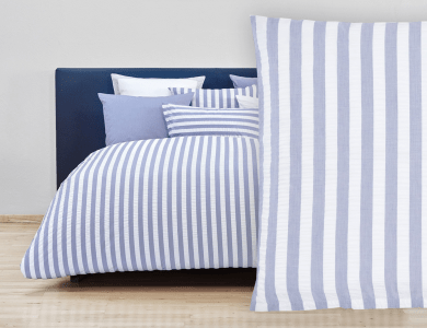 "Christian Fischbacher Bed Linen ""Seaside"" Seersucker Fil a Fil blue"
