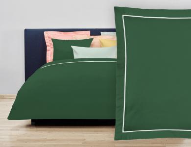 """Christian Fischbacher Bed Linen """"Balance"""" Satin forest green"""
