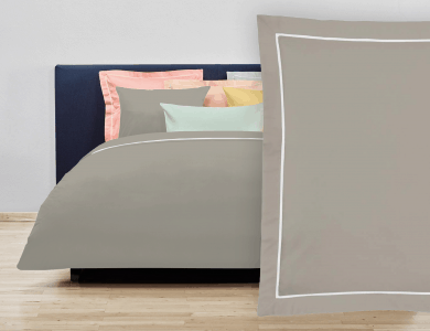 """Christian Fischbacher Bed Linen """"Balance"""" Satin pebble gray"""