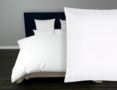 "Christian Fischbacher Bed Linen ""Collier"" Satin gold bronze embroidery"