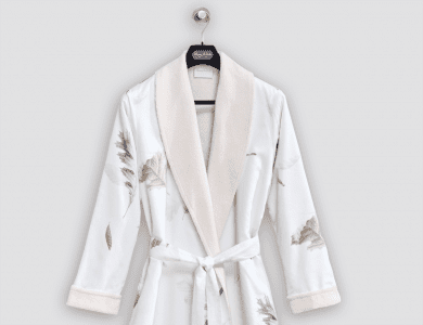 """Christian Fischbacher terry bathrobe """"Dancing Leaves"""" with shawl collar"""
