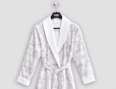 "Christian Fischbacher terry bathrobe ""Lumnezia"" with shawl collar"