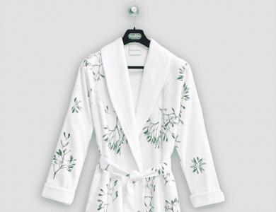 "Christian Fischbacher terry bathrobe ""Winter Grün"" with shawl collar"