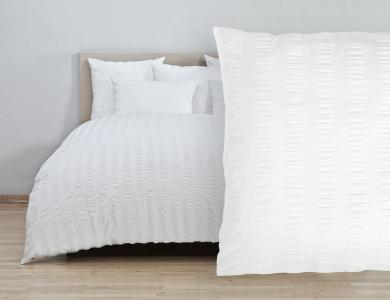 Christian Fischbacher Bed Linen Cloque Seersucker white