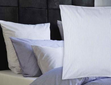 Fischbacher Bed Linen Fil a Fil white with blue stripes