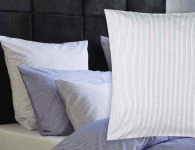 Christian Fischbacher Bed Linen Fil a Fil white with gray stripes