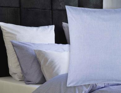 Christian Fischbacher Bed Linen Fil a Fil heather blue plain color