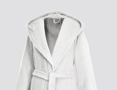 Hooded terry bathrobe for women and men white