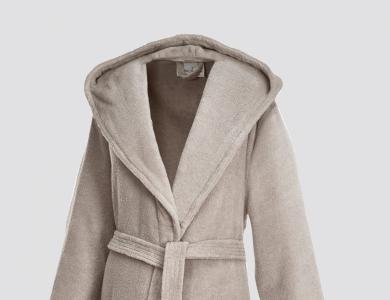 Hooded terry bathrobe for women and men sand