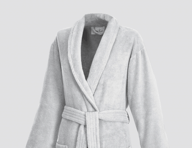 Terry bathrobe with shawl collar for women and men silver