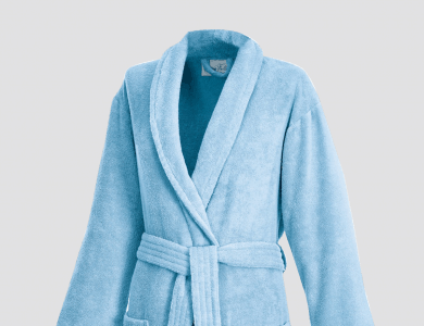Terry bathrobe with shawl collar for women and men ciel