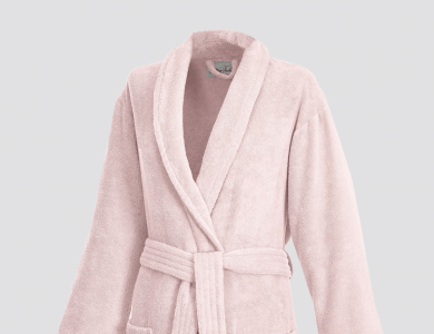 Terry bathrobe with shawl collar for women and men blossom