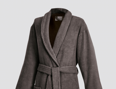 Terry bathrobe with shawl collar for women and men rockybrown