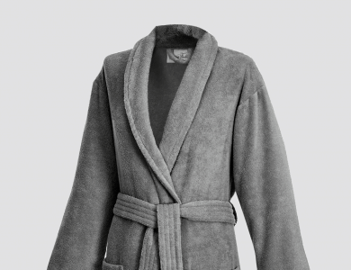 Terry bathrobe with shawl collar for women and men graphite