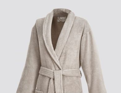 Terry bathrobe with shawl collar for women and men sand