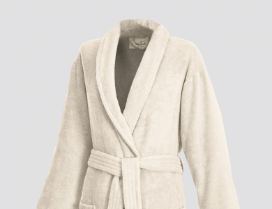 Terry bathrobe with shawl collar for women and men ivory
