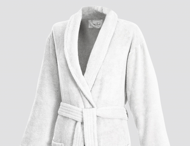 Terry bathrobe with shawl collar for women and men white