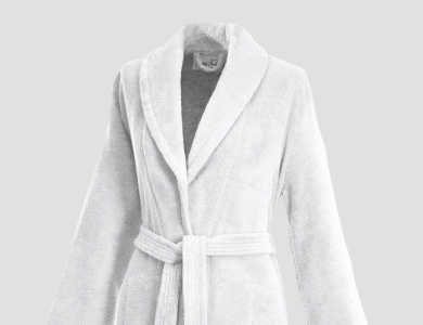 Terry bathrobe with shawl collar and belt inside for women white