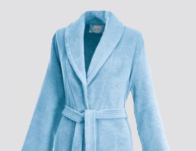 Terry bathrobe with shawl collar and belt inside for women ciel