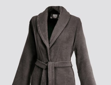 Terry bathrobe with shawl collar and belt inside for women rocky brown
