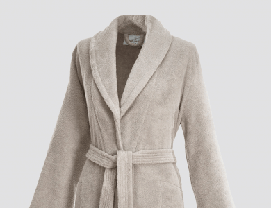 Terry bathrobe with shawl collar and belt inside for women sand