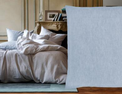 """Purolino"" linen bedding Christian Fischbacher, blue"