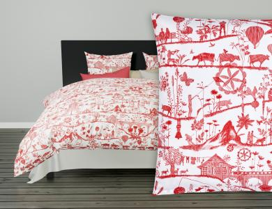 Fischbacher Lumnezia Satin Bed Linen, red