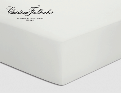 Christian Fischbacher fitted sheet Satin - Pearl white 307