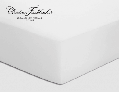 Christian Fischbacher fitted sheet Satin - White 010