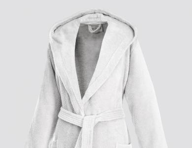 Short hooded terry bathrobe for women white