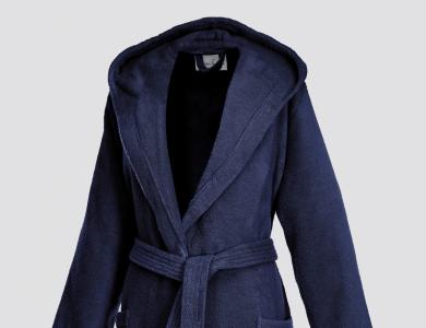 Short hooded terry bathrobe for women night blue