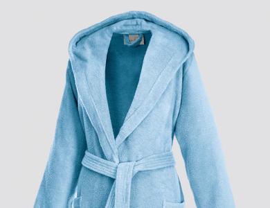 Short hooded terry bathrobe for women ciel