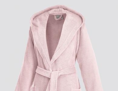 Short hooded terry bathrobe for women blossom