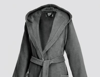 Short hooded terry bathrobe for women graphite