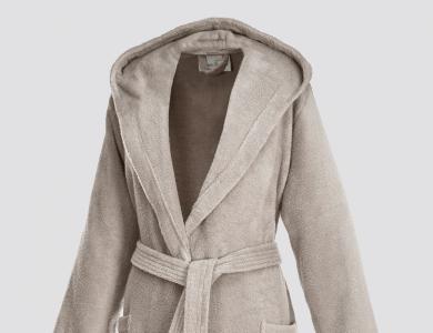 Short hooded terry bathrobe for women sand