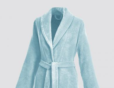 Terry bathrobe with shawl collar and belt inside for women artic green