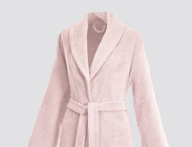 Terry bathrobe with shawl collar and belt inside for women blossom