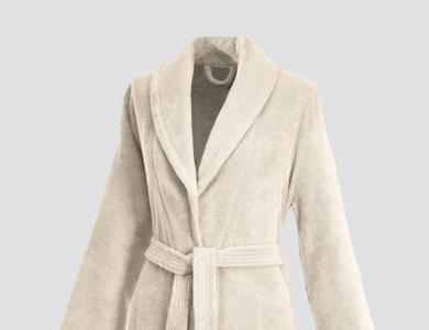 Terry bathrobe with shawl collar and belt inside for women cream
