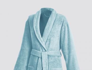 Terry bathrobe with shawl collar for women and men atric green