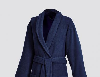 Terry bathrobe with shawl collar for women and men night blue
